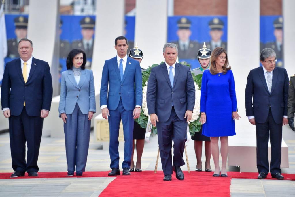 Pompeo, Duque y Guaidó en Colombia