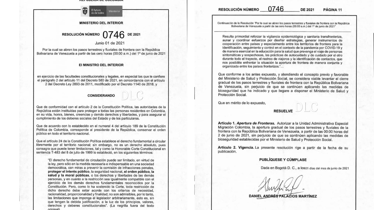 Resolución frontera con Venezuela